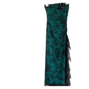 I.N. San Francisco Black & Teal Strapless Dress